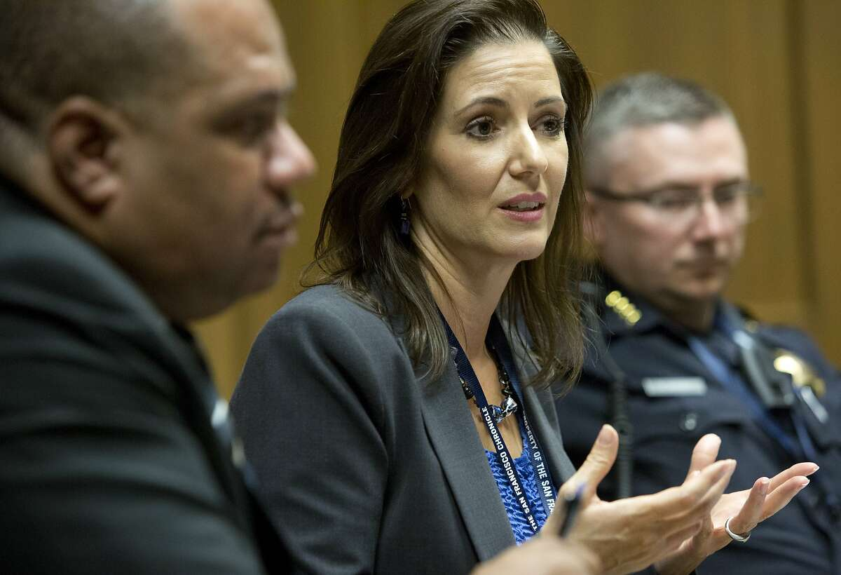 Oakland Mayor Libby Schaaf makes a point during an editorial board meeting about policing at the Chronicle on September 3, 2015 in San Francisco, Calif.
