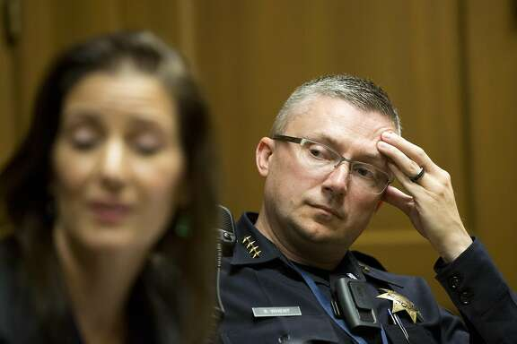 Oakland Chief of Police Sean Whent listens during an editorial board meeting at the Chronicle on September 3, 2015 in San Francisco, Calif.