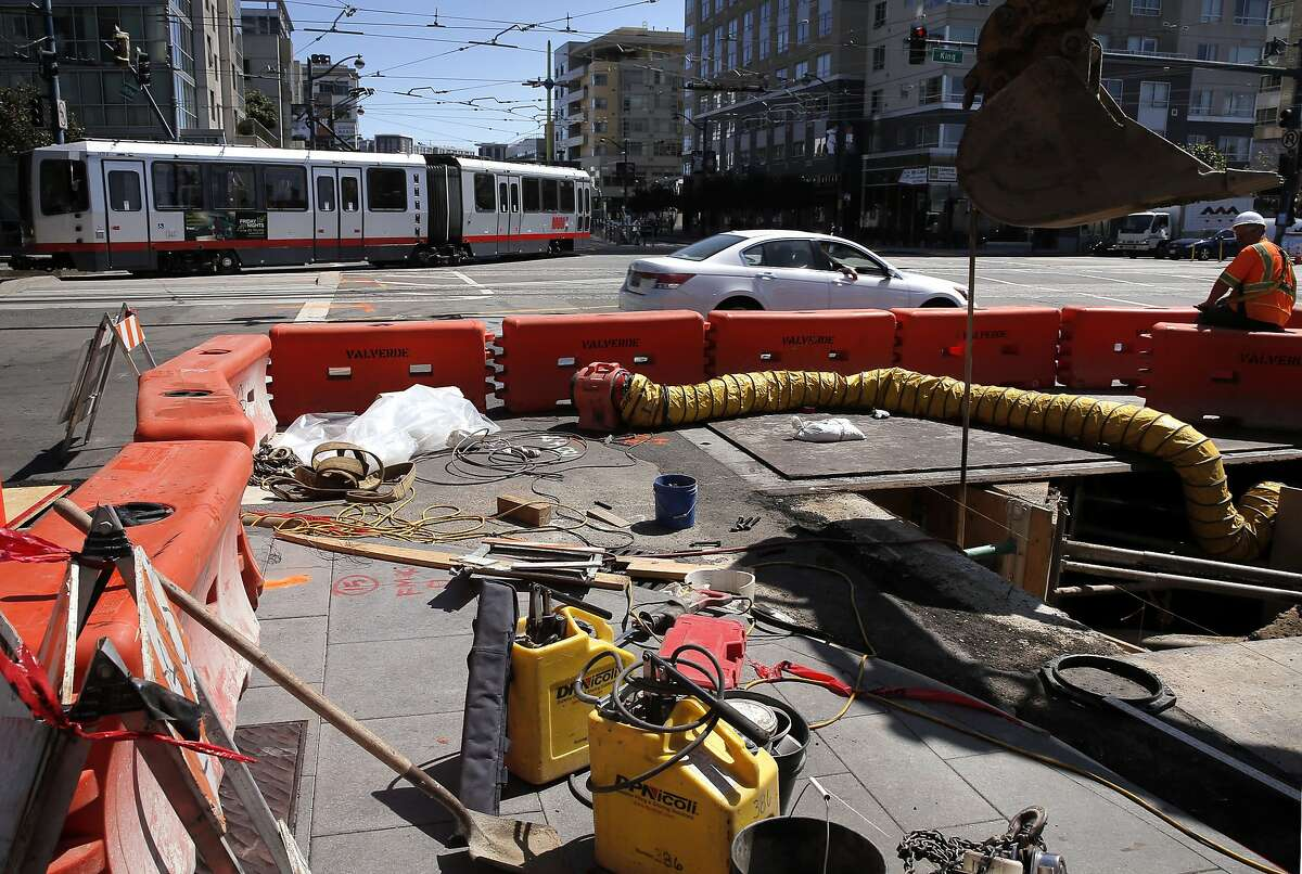 A MUNI streetcar rolls through the intersection of Fourth and King streets, in San Francisco, Calif. on Thurs. September 3, 2015, where major repairs will be made over the Labor Day weekend.