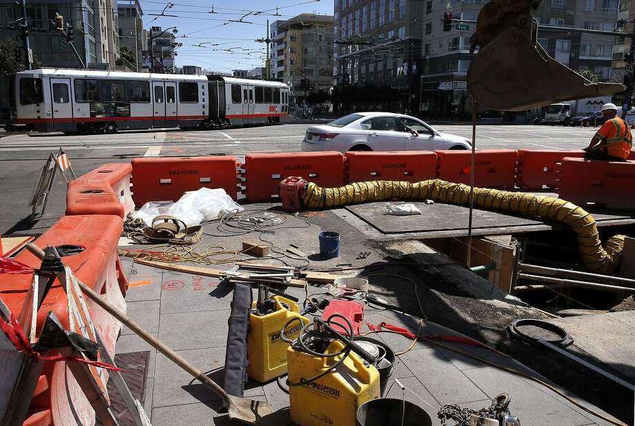 A MUNI streetcar rolls through the intersection of Fourth and King streets, in San Francisco, Calif. on Thurs. September 3, 2015, where major repairs will be made over the Labor Day weekend.  Photo: Michael Macor, The Chronicle