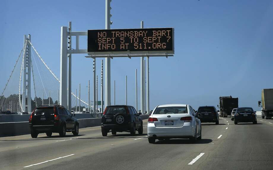 Warning signs are posted throughout the Bay Area notifying riders of this weekend's BART Transbay Tube closure, including on the Bay Bridge, in Oakland, Calif. as seen on Thurs. September 3, 2015. Photo: Michael Macor, The Chronicle