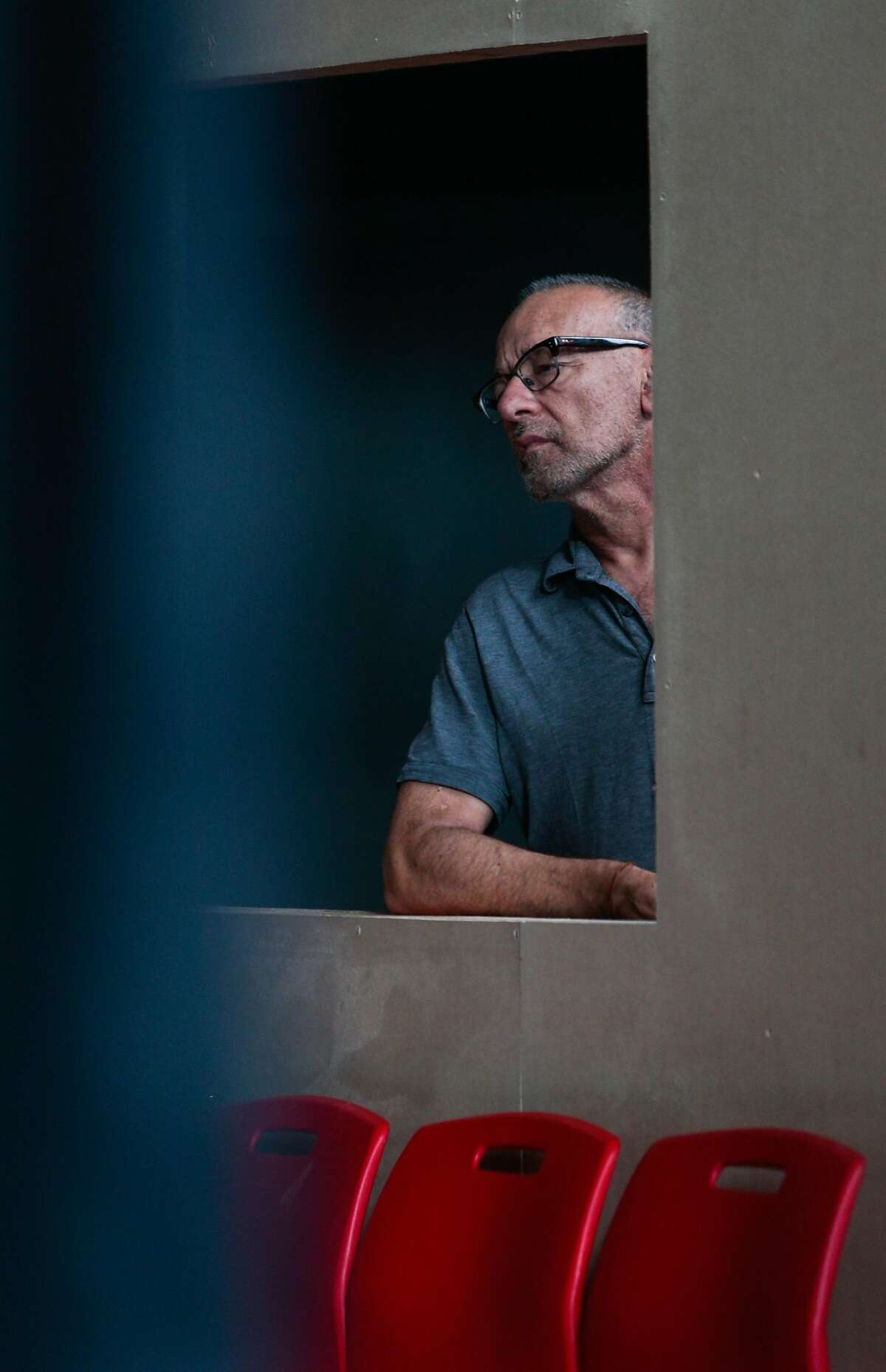 """Joe Goode rehearses for his latest work, """"Poetics of Space"""", a blend of drama and choreography in installations which viewers walk through, on Wednesday, Sept. 2, 2015 in San Francisco, Calif. Goode celebrates 30 years working in dance theater this year."""