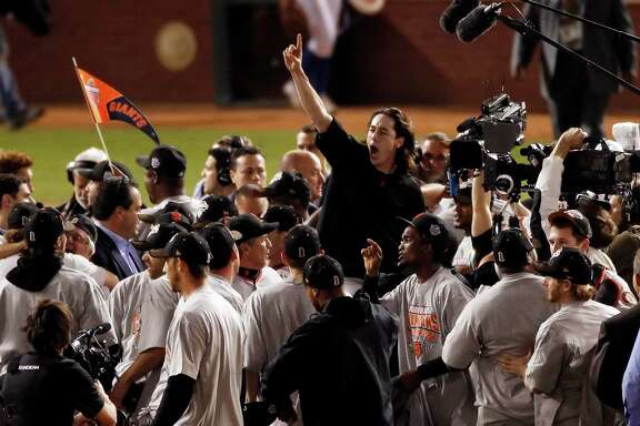 Winning pitcher, Tim Lincecum is lifted up on teammates shoulders as the Giants celebrate on the field after winning the final game of the World Series.The San Francisco Giants defeated the Texas Rangers 3-1 in Game 5 of the World Series at Rangers Ballpark in Arlington, Tx, on Monday, November 1, 2010.  150 Anniversary Maybe