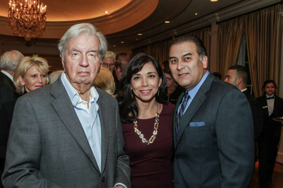 Larry McMurtry with Laura and Rick Jaramillo at the Center for Houston's Future Dinner and Conversation Nov. 6 2014.