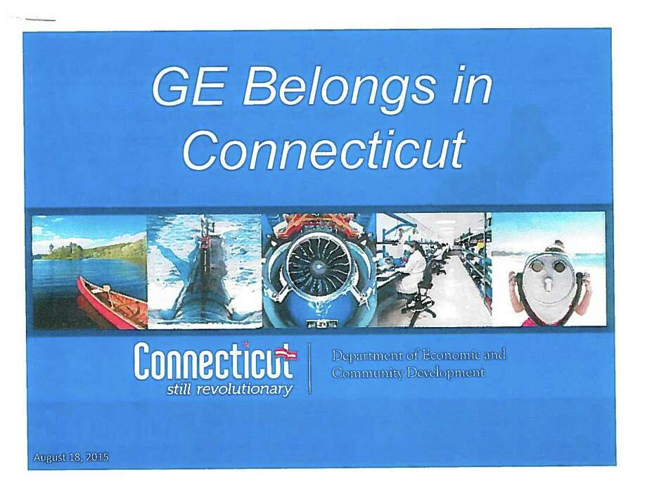 The front page of a presentation prepared by the state Department of Economic and Community Development for General Electric Corp. is shown in this contributed photo from state Rep. John Frey, R-Ridgefield, that was obtained by Hearst Connecticut Media on Sept. 3, 2015. The jet engine in the center is not manufactured by GE, but in-state rival Pratt & Whitney, Frey said. Photo: Contributed Photo / Connecticut Post