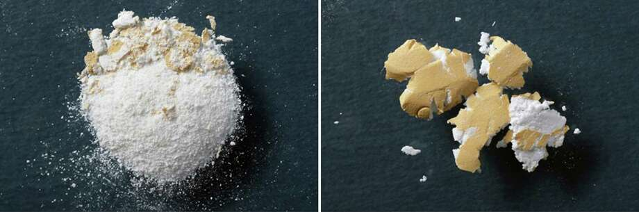 A tablet crushed into powder, left, and a reformulated tablet that does not easily turn into powder when it is crushed, right, in an undated handout image. The companies making the narcotic painkillers OxyContin and Opana, after introducing tamper-resistant pills, have encountered some resistance in their hopes to slow adoption of the drugs' generic versions. (Purdue Pharma LP via The New York Times) -- NO SALES; FOR EDITORIAL USE ONLY WITH STORY SLUGGED PAINKILLERS GENERICS. ALL OTHER USE PROHIBITED. -- Photo: PURDUE PHARMA LP / PURDUE PHARMA LP