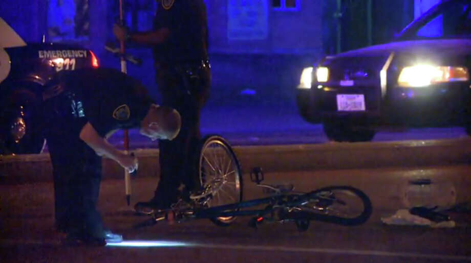 A woman was critically injured early Friday morning in a hit-and-run collision when a vehicle slammed into her as she rode a bicycle along a street in northwest Houston. Photo: Screen Shots Metro Video
