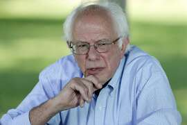 Democratic presidential candidate, Sen. Bernie Sanders, I-Vt., speaks during a television interview before a town hall meeting, Thursday, Sept. 3, 2015, in Grinnell, Iowa. (AP Photo/Charlie Neibergall)