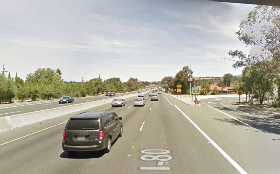 A man died after he stepped into the path of a car on eastbound I-80 west of Georgia Lane in Vallejo. Photo: Google Maps