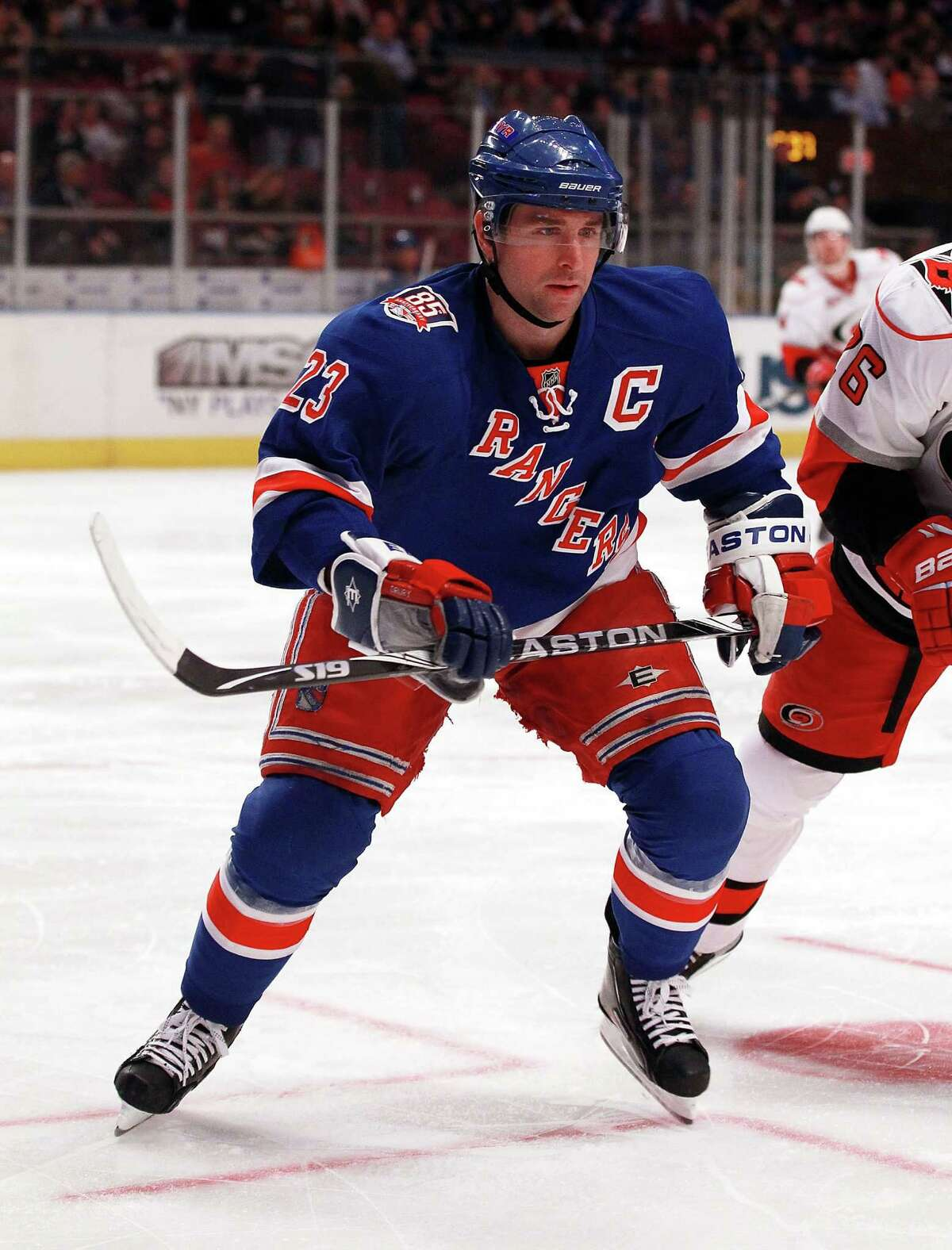 Chris Drury (23) of the New York Rangers skates against the Carolina Hurricanes at Madison Square Garden on January 5, 2011 in New York City. The Rangers defeated the Hurricanes 2-1 in overtime. The Rangers named Drury their new assistant general manager on Friday, September 2, 2016.
