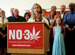 Dr. Sarah Denny, Attending Pediatric Physician at Nationwide Children's Hospital, speaks during a coalition opposing ResponsibleOhio's proposed Constitutional amendment to create a marijuana monopoly at the Nationwide Children's Hospital Research Institute Building on Monday, Aug. 17, 2015, in Columbus, Ohio. Passage of the proposed amendment on Nov. 3 would make Ohio a rare state to go from entirely outlawing marijuana to allowing it for all uses in a single vote. (Tom Dodge/The Columbus Dispatch via AP) MANDATORY CREDIT ORG XMIT: OHCOL101