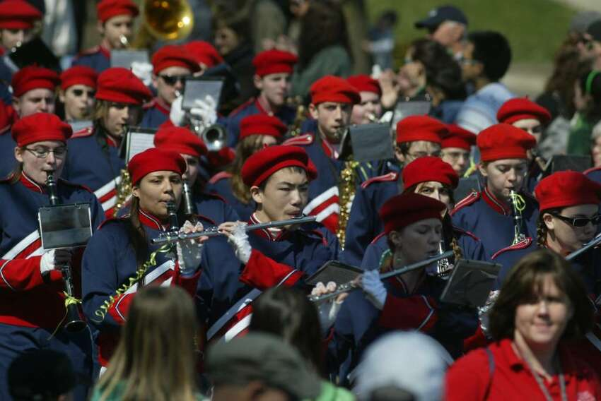 The Foran High School band marches in the St., Patrick's Day Parade, Sun., March 21, 2010, in Milford.