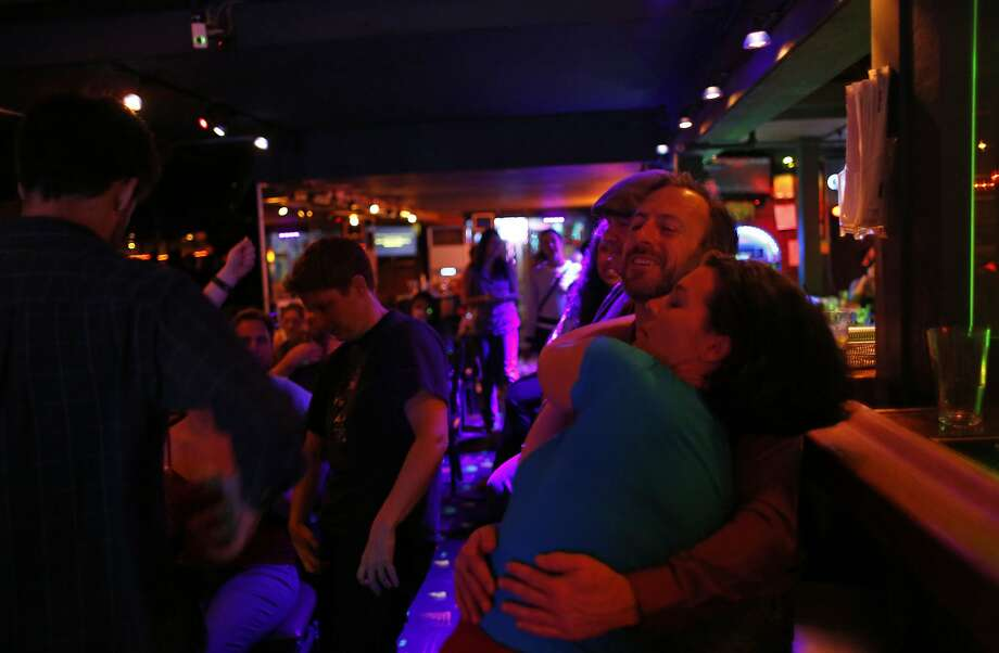 Minty Monday regulars dance to a karaoke song February 16, 2015 in San Francisco, Calif. Photo: Erin Brethauer, The Chronicle