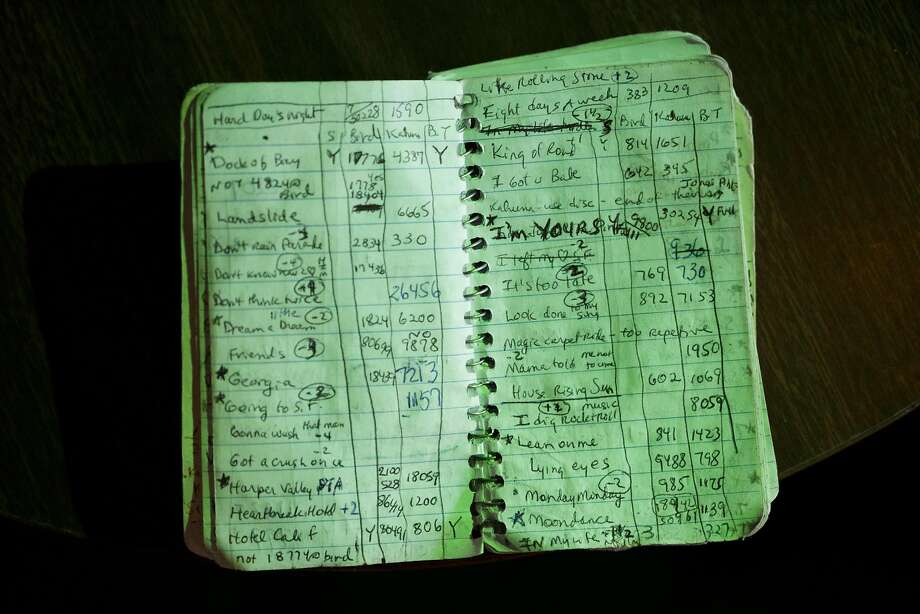 Kathleen Chan's karaoke notebook, in which she records every karaoke song she sings, sits on a table at The Mint on July 20, 2015 in San Francisco, Calif. Photo: Erin Brethauer, The Chronicle
