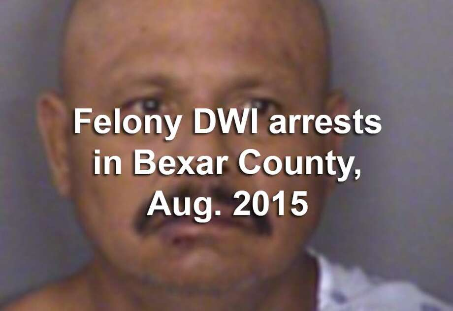 Law enforcement officers in Bexar County arrested 58 people in August 2015 on felony drunken driving charges including including driving while intoxicated — third or more, driving while intoxicated with a child passenger under 15 years old, intoxication assault or intoxication manslaughter.Scroll through the slideshow to see their mugshots.