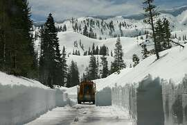 December of 2011, the last big snow to hit California, shown here in a photo of the road to Castle Lake, 4,500 feet, near Mount Shasta