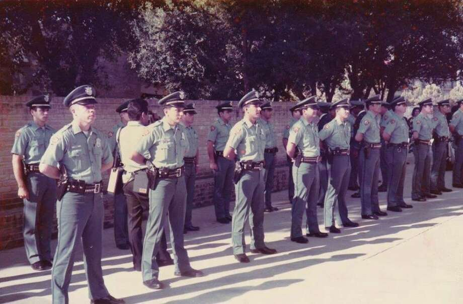 A class of graduating SAPD cadets, possibly from 1985, lines up in formation. Click through to see a hand-picked selection of startling archive photos from San Antonio's true crime past. Photo: San Antonio Police Department Historical Society