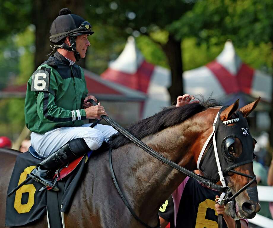Jockey Mike Luzzi is all smiles as he makes his first start, since he sustained serious injuries when a horse fell on him at Aqueduct in November of 2014,  Wednesday afternoon Sept. 2, 2015 at the Saratoga Race Course in Saratoga Springs, N.Y.    (Skip Dickstein/Times Union) Photo: SKIP DICKSTEIN
