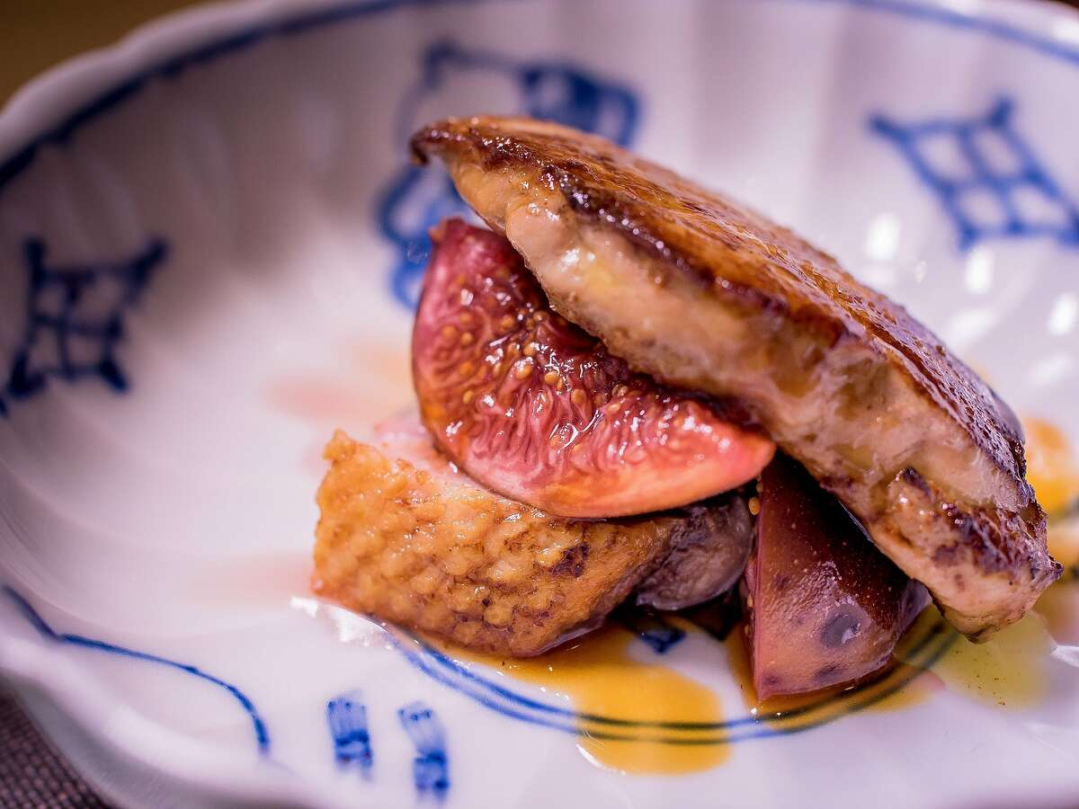 Foie Gras Duck breast with Fig at Omakase in San Francisco, Calif., is seen on September 3rd, 2015.
