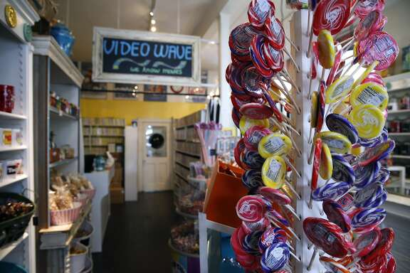 Noe Valley video rental shop Video Wave now shares space in the back of Buttons Candy Bar on 24th Street in San Francisco, Calif. on Friday, Sept. 4, 2015. Believed to be the oldest video rental business in the city, Video Wave now shares the back end of a candy store after its lease expired at the original location around the corner.