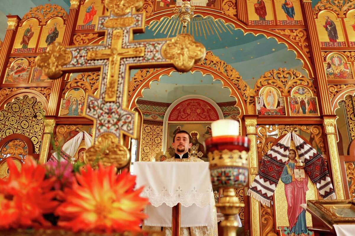 Father Vasyl Dovgan stands inside St. Nicholas Ukrainian Orthodox Church on Wednesday, August 5, 2015, in Troy, N.Y. (Olivia Nadel/ Special to the Times Union)