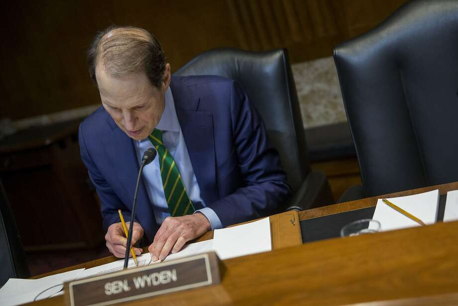 Senator Ron Wyden, a Democrat from Oregon, waits to begin a Senate Energy and Natural Resources Committee business meeting to mark up an original bill to approve the Keystone XL pipeline. Photo: Andrew Harrer, Bloomberg