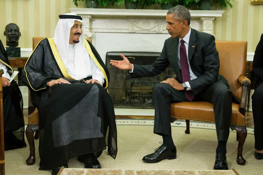 President Barack Obama, right, meets with King Salman of Saudi Arabia in the Oval Office of the White House, on Friday, Sept. 4, 2015, in Washington. The meeting comes as Saudi Arabia seeks assurances from the U.S. that the Iran nuclear deal comes with the necessary resources to help check Iran's regional ambitions.   (AP Photo/Evan Vucci) Photo: Evan Vucci, STF / AP