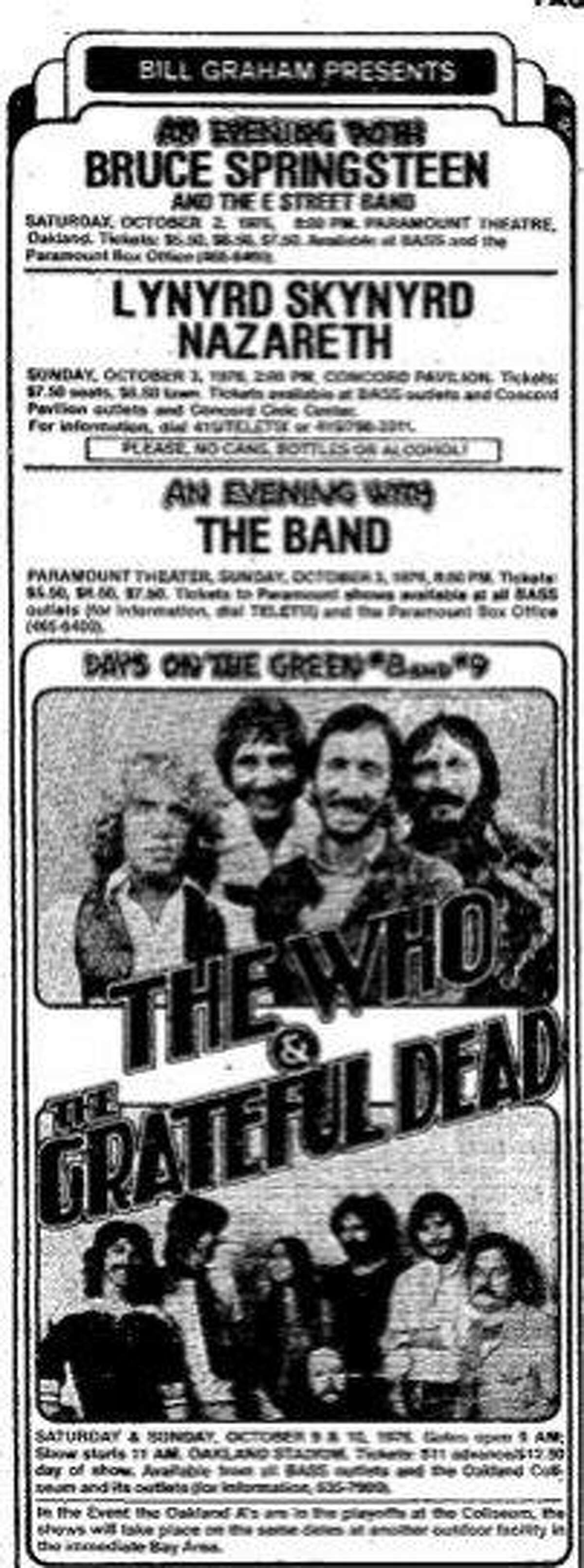 Ad for the The Who and Grateful Dead, Day on the Green concerts of October 9-10, 1976, at the Oakland Coliseum