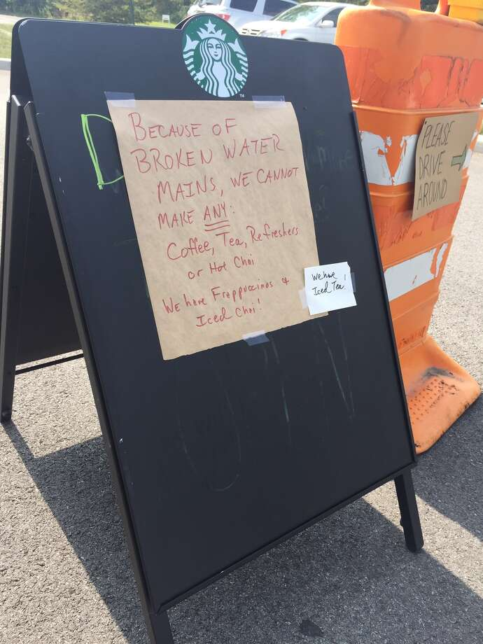 The Starbucks in ShopRite Square in Niskayuna had signs posted Friday afternoon telling customers that some beverages were not being served because of water main breaks. (Dartunorro Clark / TImes Union)