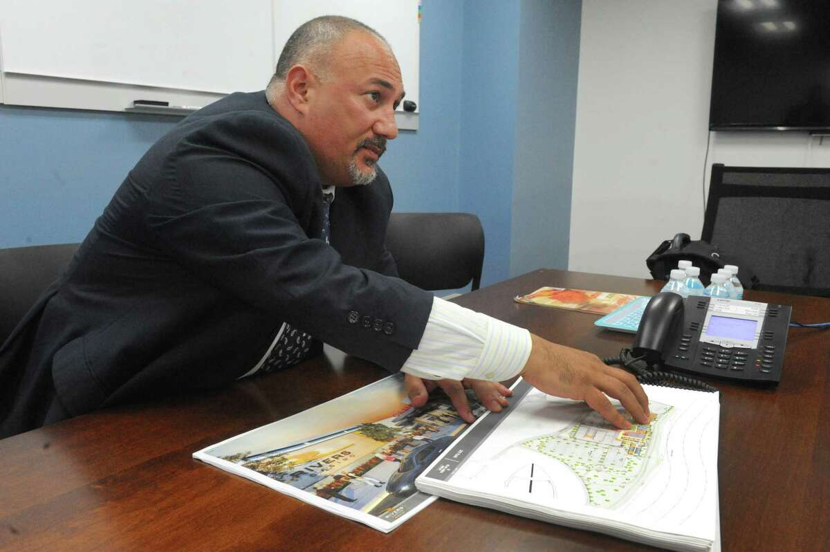 Joe Scibetta, vice president of operations for Rush Street Gaming of Chicago, talks about the site plan of the new Rivers Casino and Resort to built on the Mohawk River on Thursday July 9, 2015 in Schenectady, N.Y. (Michael P. Farrell/Times Union)