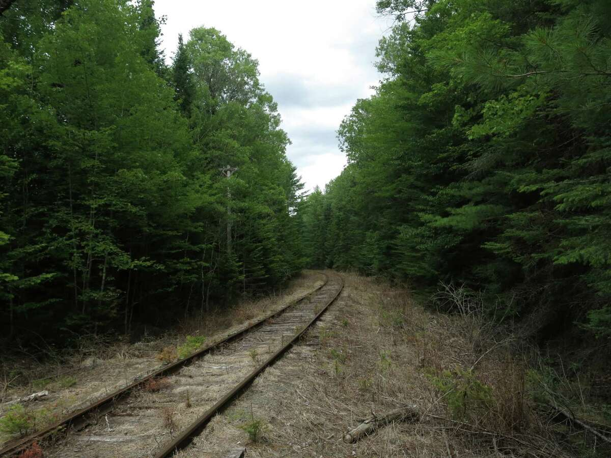 In this August 8, 2015 photo, seldom-used railroad tracks owned by Iowa Pacific Holdings vanish into the Adirondack forest in Newcomb, NY. The railroad wants to supplement its revenues by storing hundreds of empty oil tank cars on the tracks. Miles-long lines of black tank cars are showing up on long-unused rail spurs around the country as short-line railroads store them for the leasing companies or other entities that own them. (AP Photo/Mary Esch)