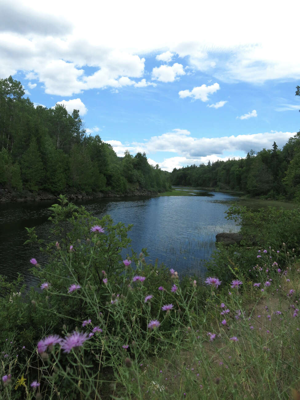This Aug. 8, 2015 photo shows the Hudson River near an abandoned iron mine in the Adirondacks in Tahawus, NY. A short-line railroad plans to supplement its revenues by storing hundreds of empty oil tank cars on unused tracks that end at the mine. Environmentalists are against the plan, saying it would hurt tourism in a place that?'s popular with hikers and paddlers. The tracks are close to the river in some places but the rail operator says the tank cars will be in a forested area out of public view. (AP Photo/Mary Esch)