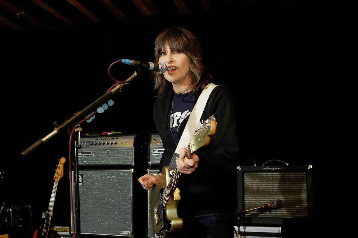FILE - In this Jan. 22, 2009 file photo shows, Chrissie Hynde, lead singer of the Pretenders, during rehearsals at John Henry's Studio in north London. Early in her life, Hynde fell in with a band of outlaw bikers. She wound up being beaten, robbed and raped, she says in an interview to air on this week?'s ?