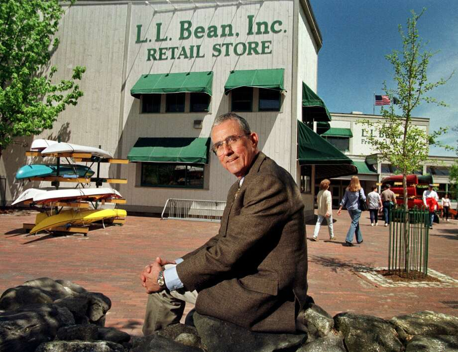 FILE - In this May 1999 file photo, Leon A. Gorman sits outside one of the company's stores in Freeport, Maine. Gorman, a grandson of L.L. Bean, who led a modernization of his family's outdoor clothing and gear retail business after the founder's death, died Thursday, Sept. 3, 2015, at his home in Yarmouth, Me. He was 80. (AP Photo/Robert F. Bukaty, File) Photo: Robert F. Bukaty, STF / AP