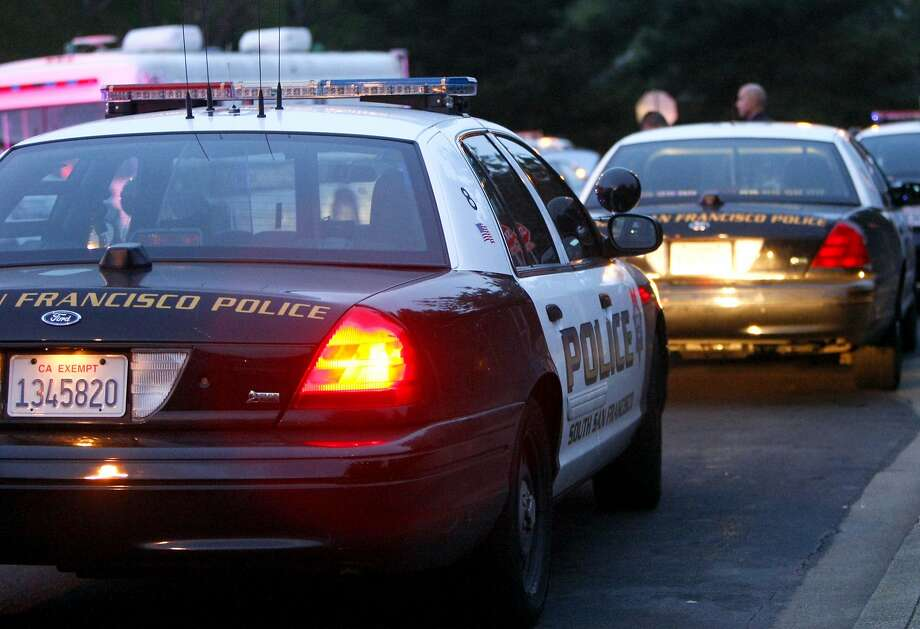 A file photo of police cars lining a street. Photo: Codi Mills, The Chronicle