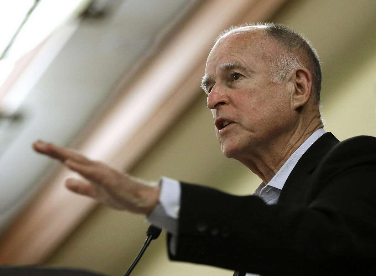 FILE - In this Wednesday May 27, 2015 file photo, California Gov. Jerry Brown addresses the California State Association of Counties Legislative Conference in Sacramento, Calif. California's top oil and gas regulators repeatedly warned Gov. Jerry Brown's senior aides in 2011 that the governor's orders to override key safeguards in granting oil industry permits would violate state and federal laws protecting the state's groundwater from contamination, one of the former officials has testified. (AP Photo/Rich Pedroncelli, File)