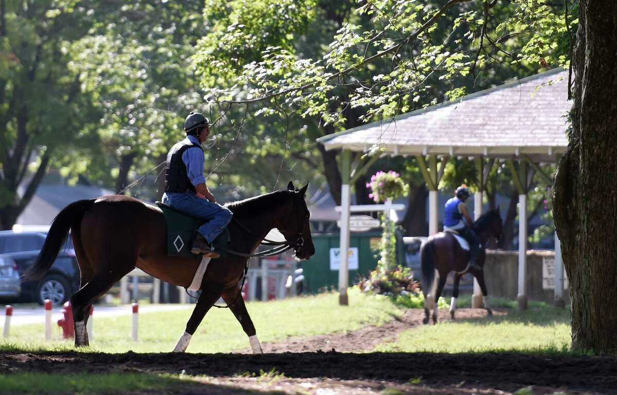 A Bill Mott trainee walks back to the barn by way of Clair Court Friday morning Sept. 4, 2015 at the Saratoga Race Course in Saratoga Springs, N.Y. (Skip Dickstein/Times Union)