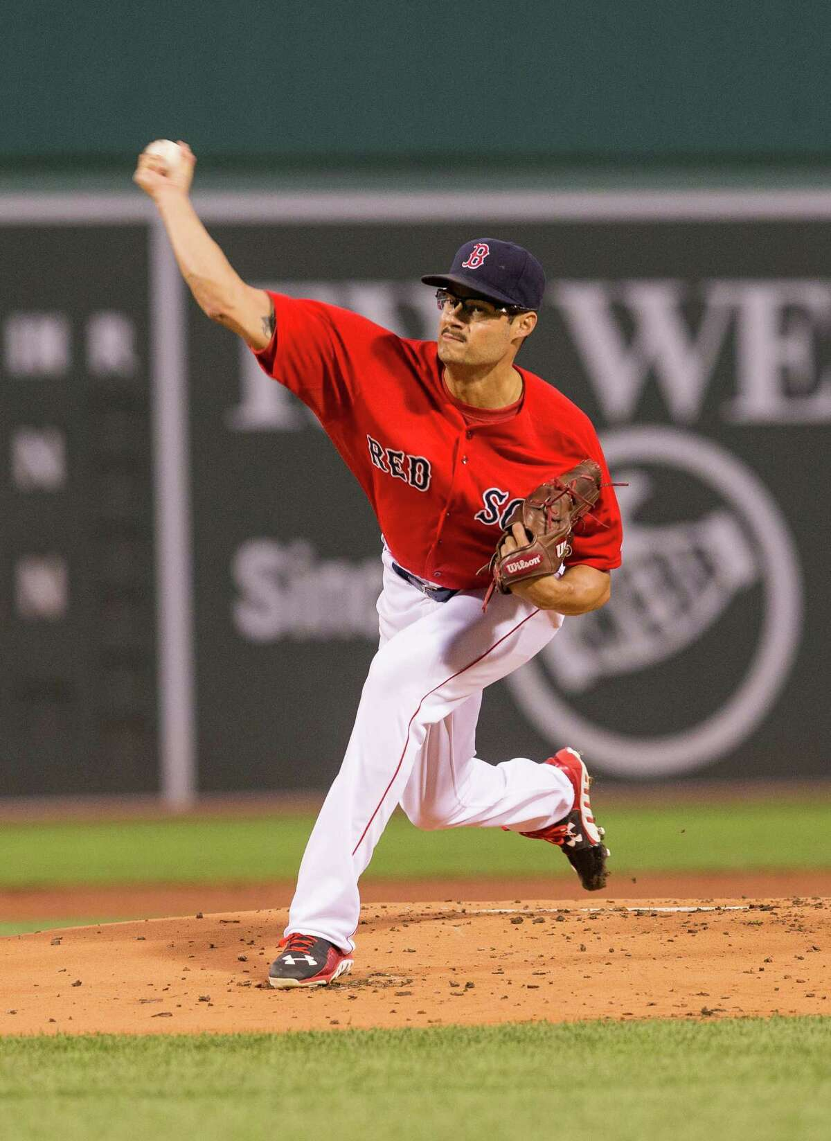 BOSTON, MA - SEPTEMBER 4: Joe Kelly #56 of the Boston Red Sox pitches during the first inning against the Philadelphia Phillies at Fenway Park on September 4, 2015 in Boston, Massachusetts. (Photo by Rich Gagnon/Getty Images) ORG XMIT: 538594239