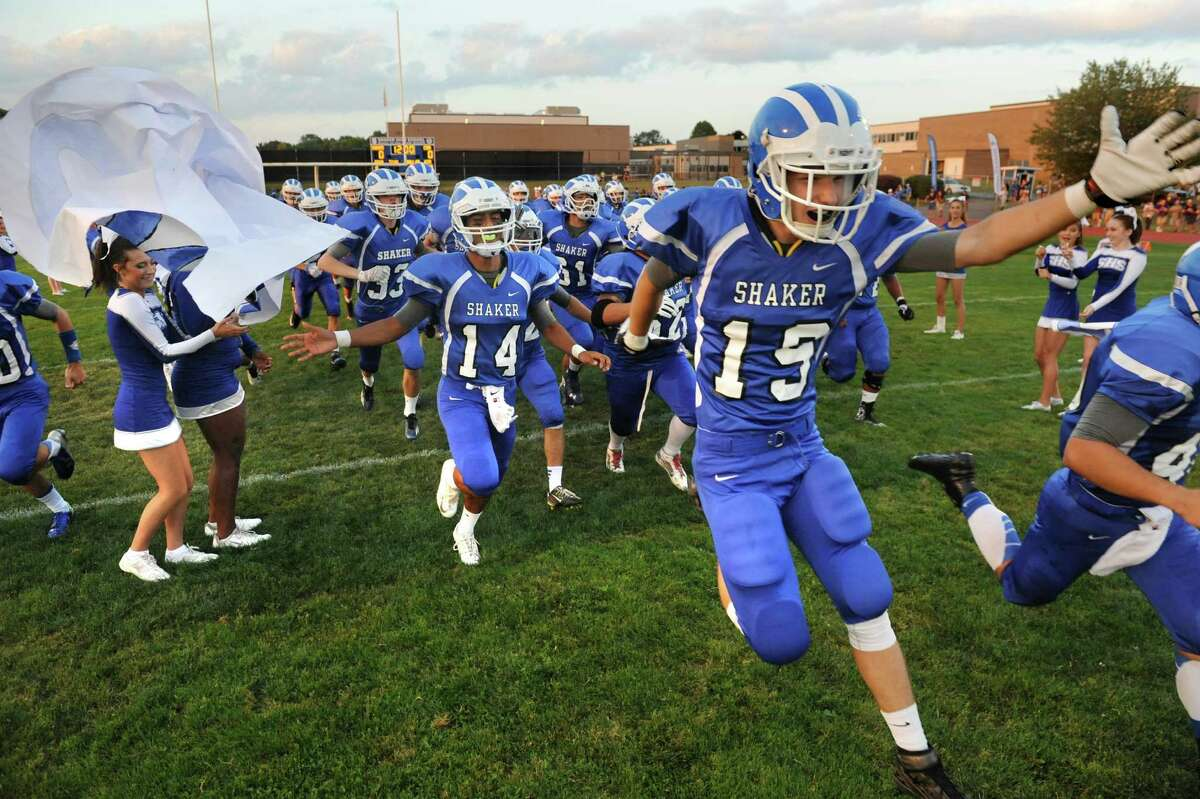 Shaker's football team takes the field in their home opener against Christian Brothers Academy on Friday, Sept. 4, 2015, Shaker High in Latham, N.Y. (Cindy Schultz / Times Union)
