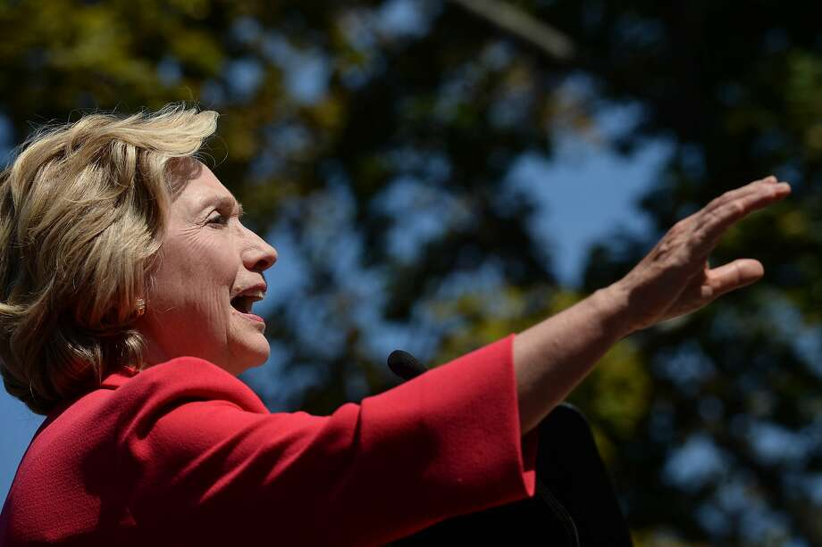Hillary Rodham Clinton acknowledges the endorse ment of Sen. Jeanne Shaheen, D-N.H, in Portsmouth. Photo: Darren McCollester, Getty Images