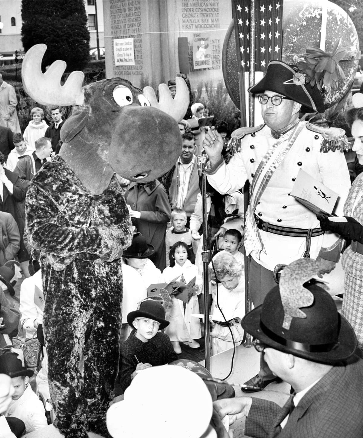 """Bullwinkle and Jay Ward promote """"Rocky and Bullwinkle"""" at KRON in November 1961."""