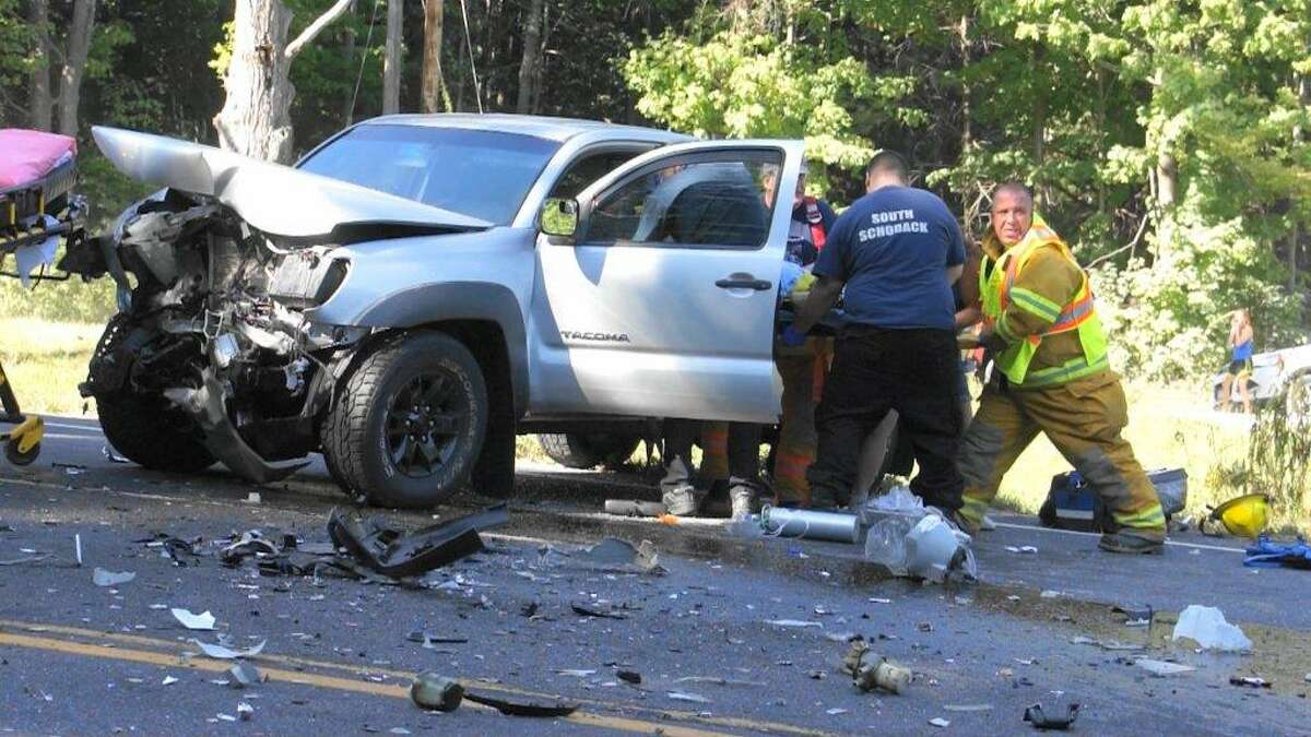 Cars collided at Route 20 in Nassau near the intersection with Lords Hill Road on Saturday Sept. 5, 2015. (Martin Miller / Special to the Times Union)