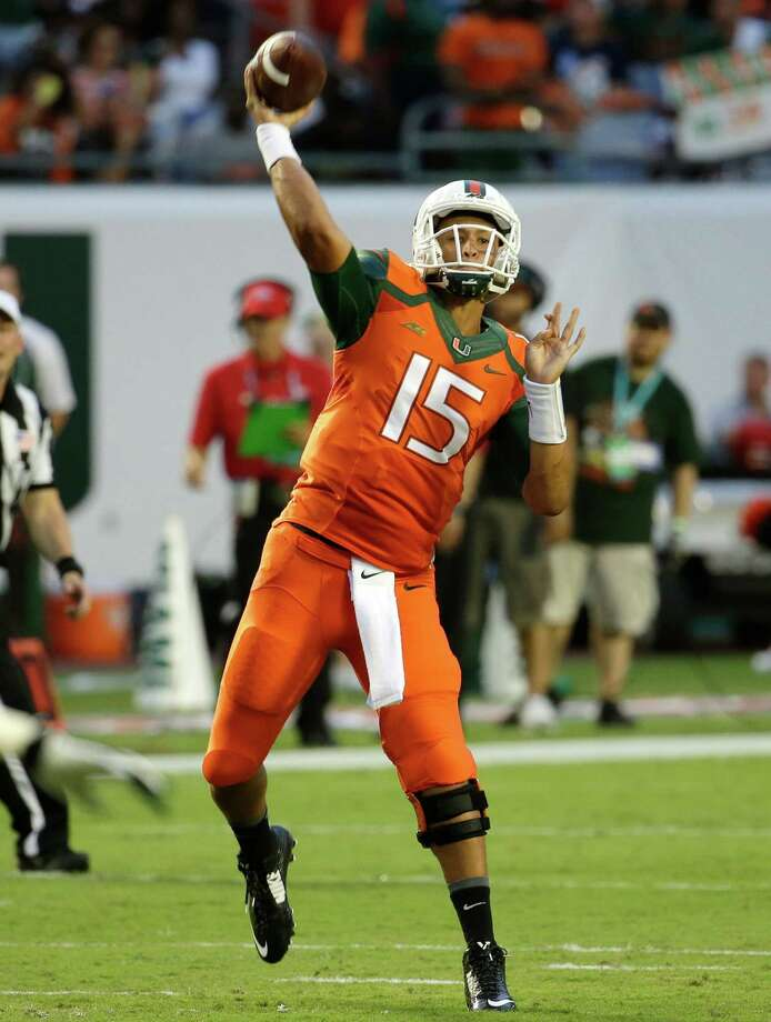 Miami quarterback Brad Kaaya visited the Texans on Wednesday. The Texans are likely to pick a quarterback in the upcoming NFL Draft. Photo: Lynne Sladky, STF / AP
