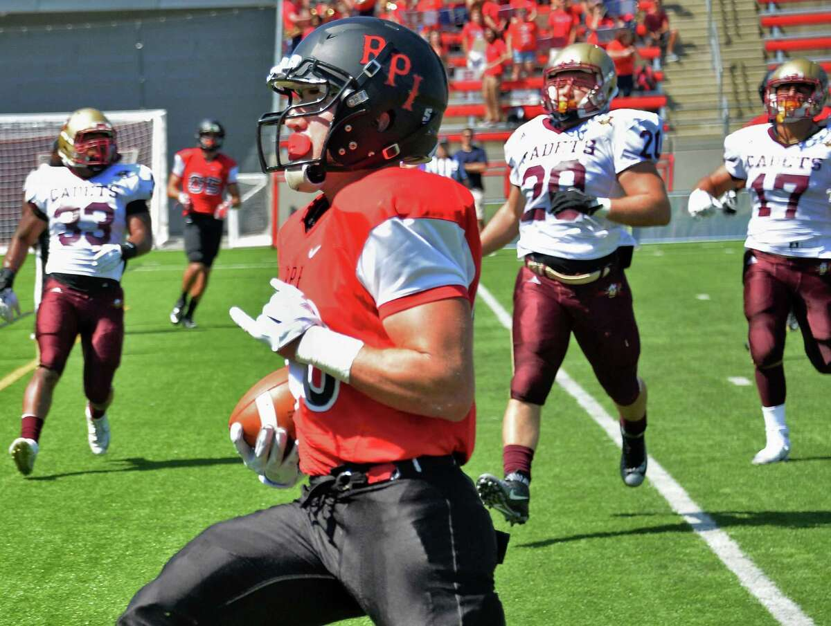 RPI's #20 John Costello crosses the goal line to score against Norwich during Saturday's game at East Campus Stadium Sept. 5, 2015 in Troy, NY. (John Carl D'Annibale / Times Union)