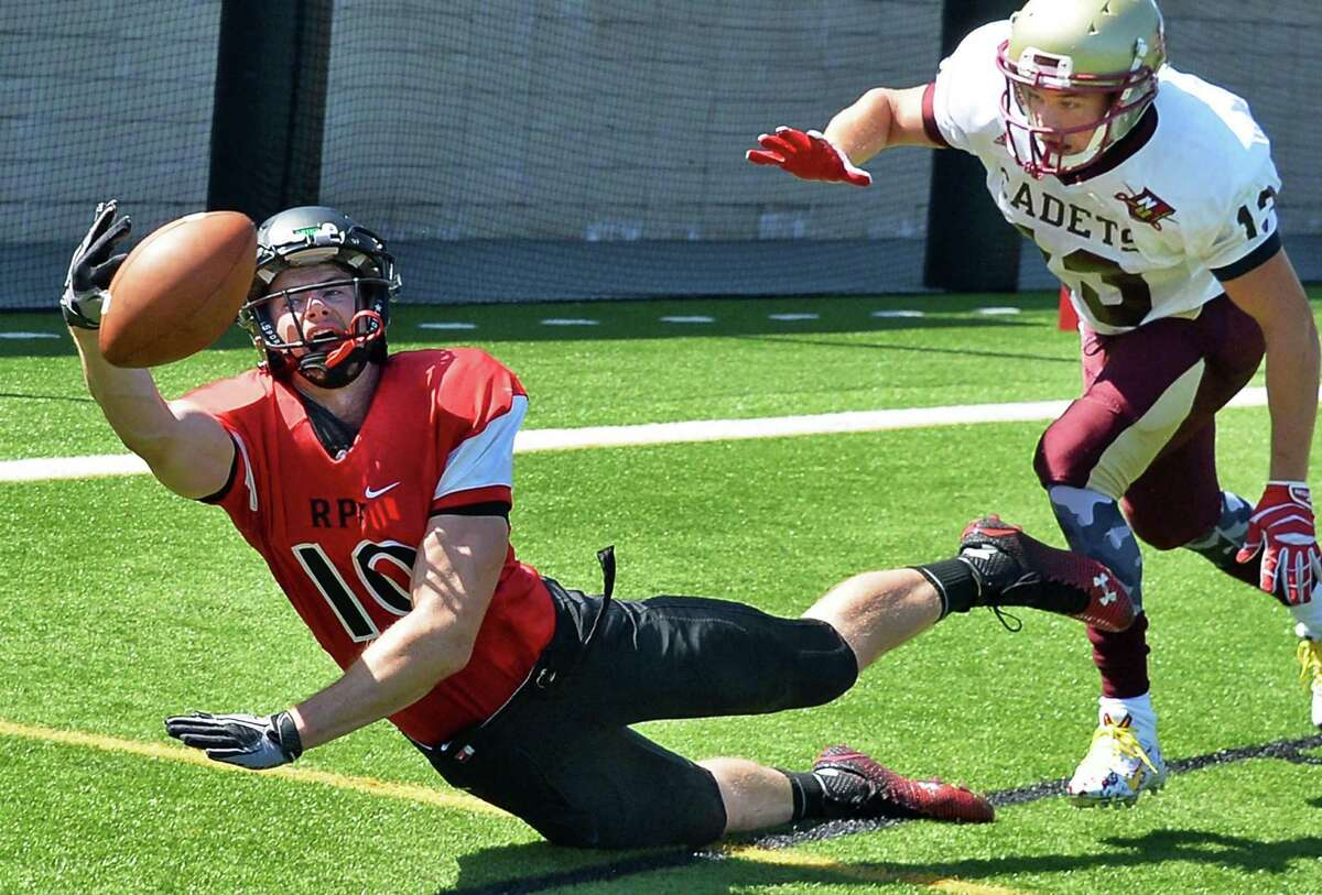 RPI's #10 Pat Hogan, left, can't hang on to this end zone pass as Norwich defender #13 Vincent Martins closes in during Saturday's game at East Campus Stadium Sept. 5, 2015 in Troy, NY. (John Carl D'Annibale / Times Union)
