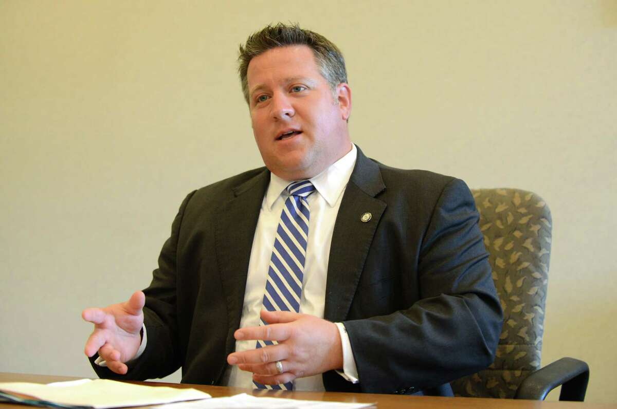 Albany County Executive Dan McCoy speaks to the Times Union editorial board Thursday, Aug. 3, 2015, in Colonie, N.Y. (Will Waldron/Times Union)