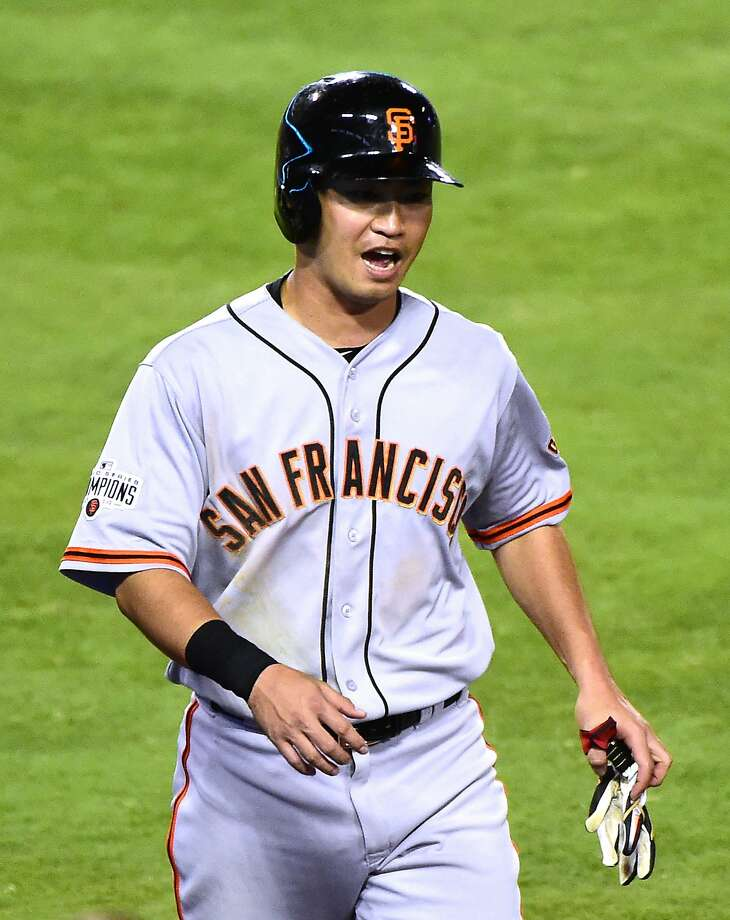 LOS ANGELES, CA - AUGUST 31:  Nori Aoki #23 of the San Francisco Giants reacts to his run to take a 2-1 lead over the Los Angeles Dodgers during the third inning at Dodger Stadium on August 31, 2015 in Los Angeles, California.  (Photo by Harry How/Getty Images) Photo: Harry How, Getty Images