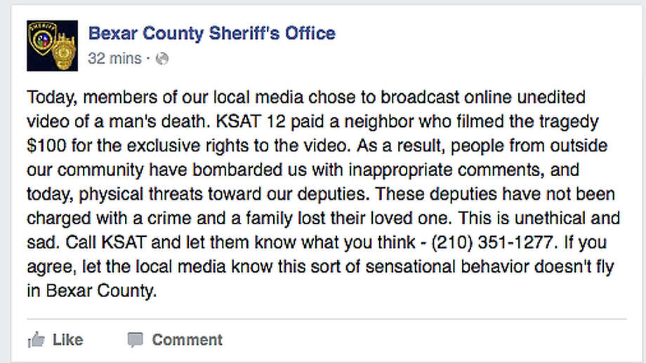 This image from Facebook shows the initial Sheriff's Office response to KSAT-TV's decision to offer, in its entirety, the video showing the deputies opening fire. Photo: Screen Capture / San Antonio Express-News / SCREEN CAPTURE TAKEN FROM FACEBOOK