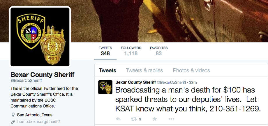 This image shows what the Sheriff's Office wrote about the situation on its Twitter account. Photo: Screen Capture / San Antonio Express-News / SCREEN CAPTURE TAKEN FROM FACEBOOK
