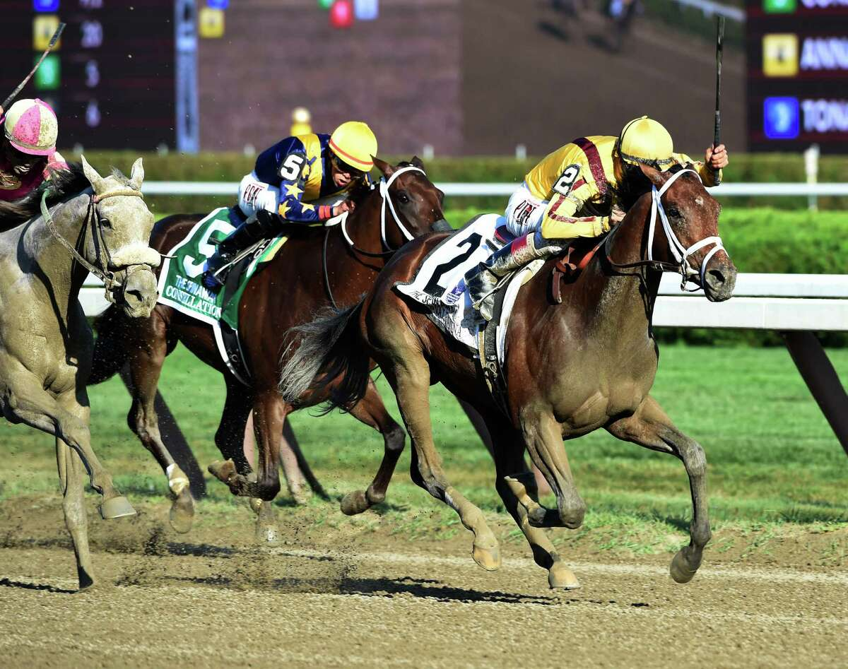 Rachel's Valentina with jockey John Velazquez wins the 124th running of the Spinaway Saturday evening Sept. 5, 2015 at the Saratoga Race Course in Saratoga Springs, N.Y. (Skip Dickstein/Times Union)